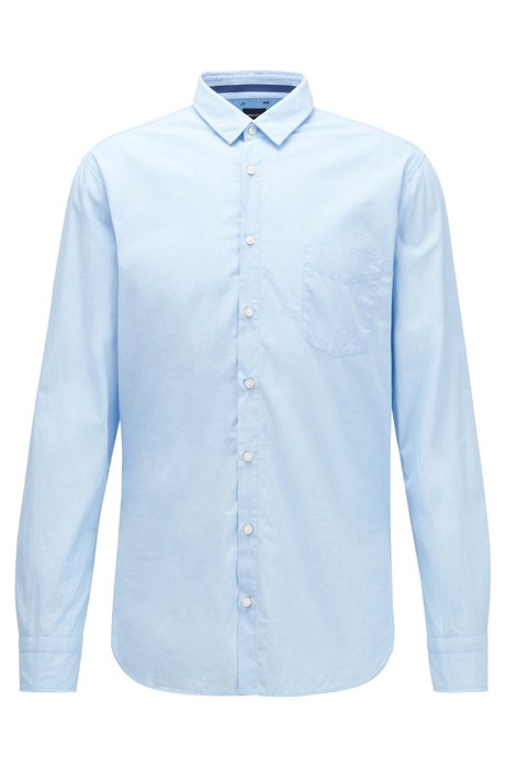 Slim-fit overhemd van gewassen fil-à-fil-katoen, Lichtblauw