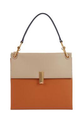 Bolso Kristin de gran tamaño en piel italiana con bloques de color, Marrón