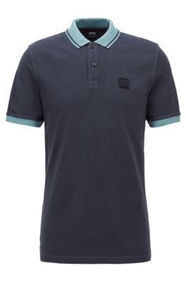 Slim-fit polo van katoenpiqué met contrastdetails, Donkerblauw