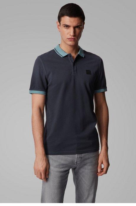 Polo Slim Fit en piqué de coton à détails contrastants, Bleu foncé