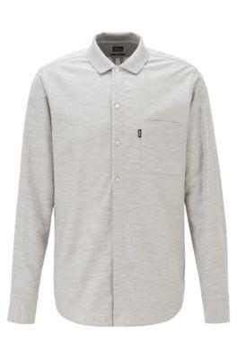 Camisa regular fit de algodón elástico jaspeado, Gris