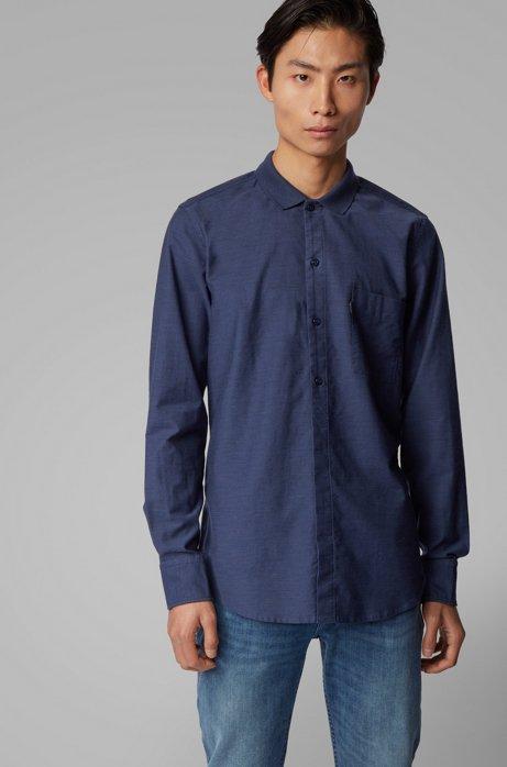 Camisa regular fit de algodón elástico jaspeado, Azul oscuro