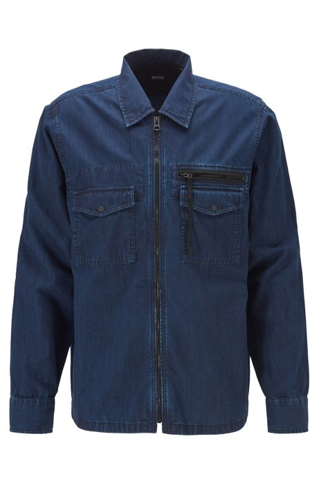 Oversized-fit denim shirt with zip closure, Dark Blue