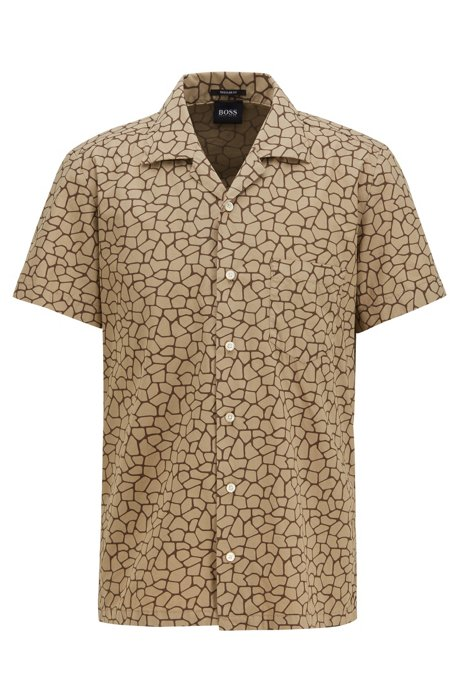 Regular-fit shirt with all-over giraffe print, Brown