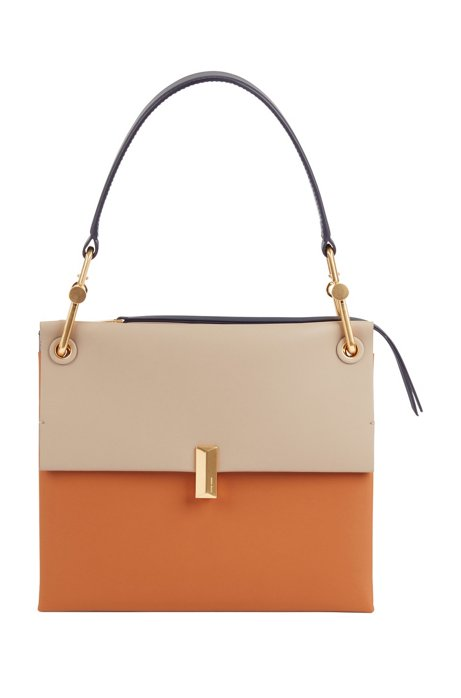 Medium Kristin shoulder bag in colour-block Italian leather, Brown