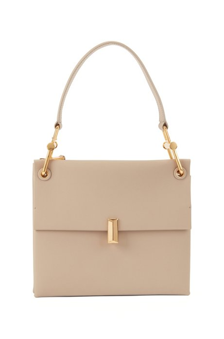Medium Kristin shoulder bag in colour-block Italian leather, Beige