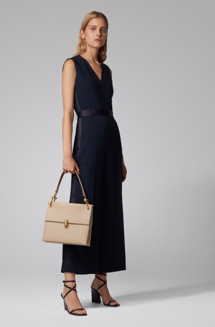 Mittelgroße Kristin Umhängetasche aus italienischem Leder im Colour-Block-Design