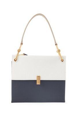Medium Kristin shoulder bag in colour-block Italian leather, Dark Blue