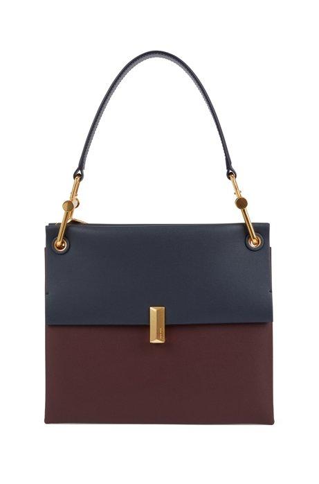 Colour-block shoulder bag in Italian leather, Dark Red