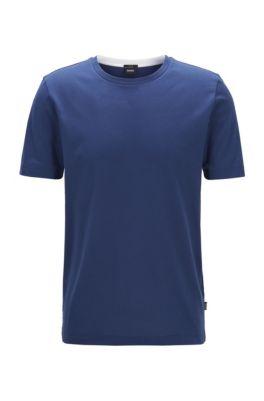 T-shirt slim fit in cotone con lavorazione a nido d'ape, Blu scuro