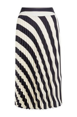 A-line pleated skirt with block-stripe print, Patterned