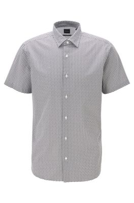 Regular-fit overhemd van katoen bedrukt met kleine afbeeldingen, Grijs
