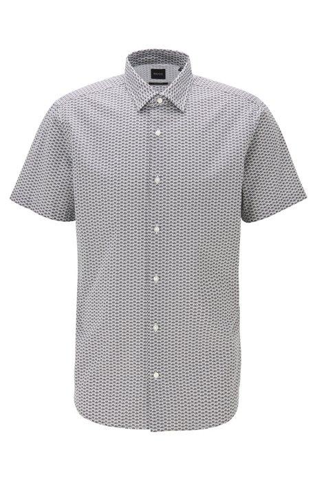 Camisa regular fit de algodón con iconos estampados, Gris