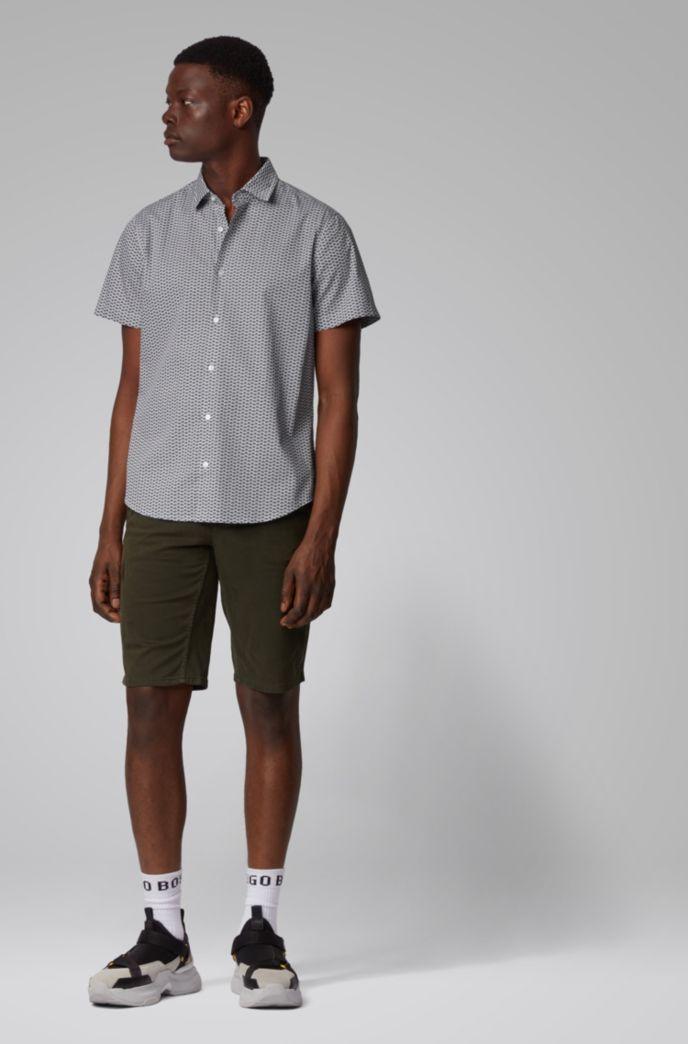 Regular-fit overhemd van katoen bedrukt met kleine afbeeldingen