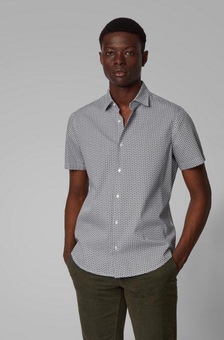 Camicia regular fit in cotone con icone stampate, Grigio