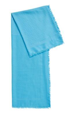 Quadratisches Tuch aus Modal mit Wolle und Monogramm-Print, Blau