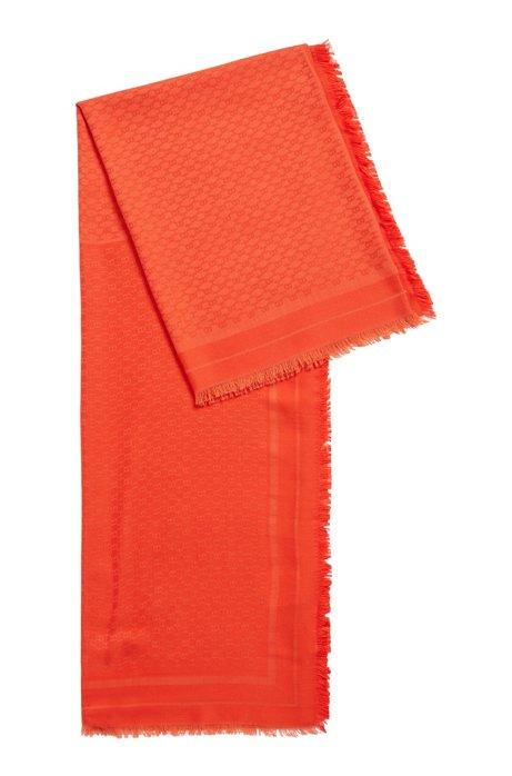 Foulard carré en modal et laine à motif monogrammé, Orange