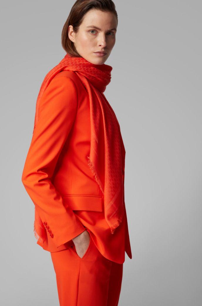Foulard carré en modal et laine à motif monogrammé