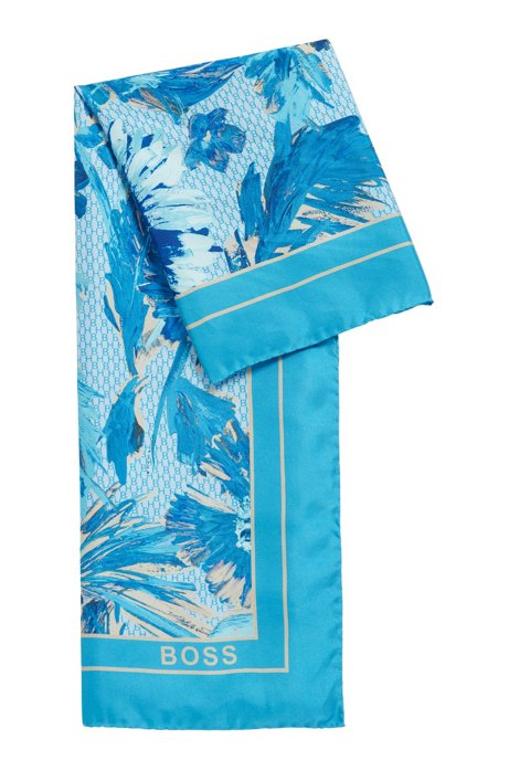 Italian-made square scarf in printed silk twill, Patterned