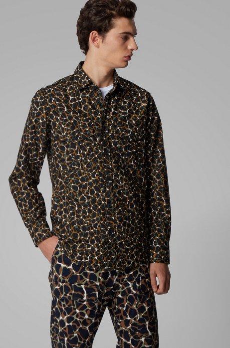 Regular-fit overhemd van katoen met dierenprint, Beige