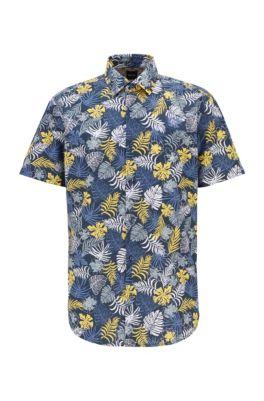 Regular-Fit Hemd aus Baumwoll-Canvas mit tropischem Print, Dunkelblau