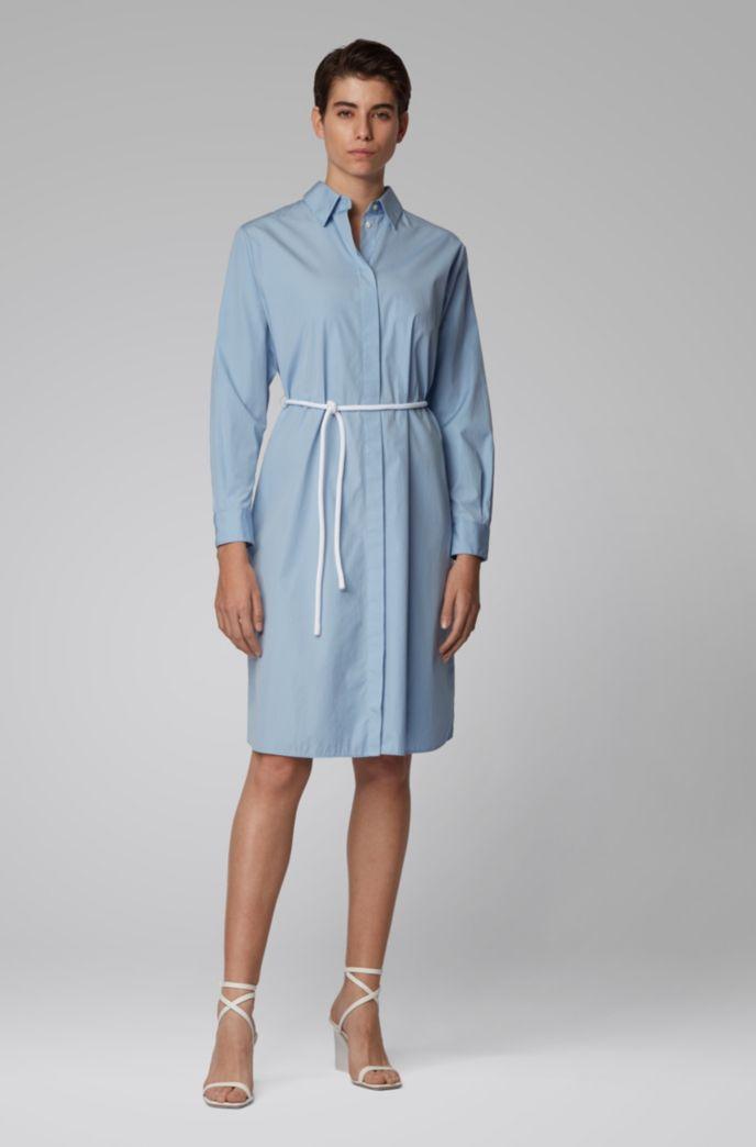 Robe-chemise en popeline de coton avec ceinture corde