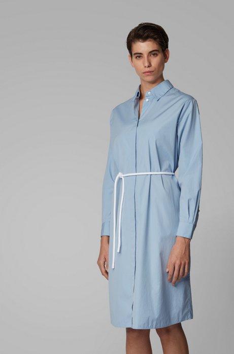 Hemdblusenkleid aus Baumwoll-Popeline mit Kordelgürtel, Hellblau