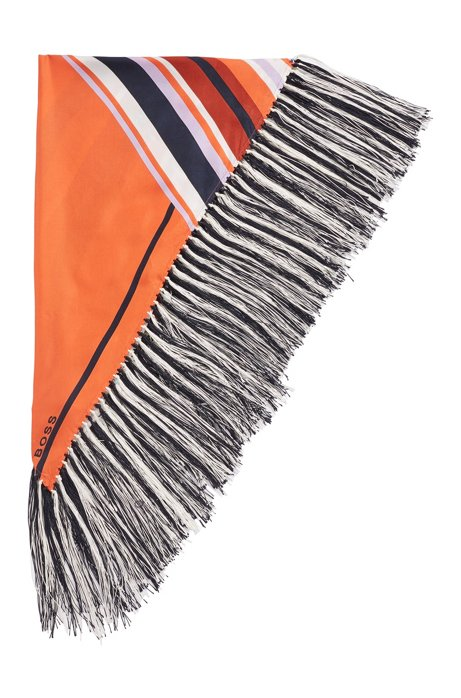 Graphic-print scarf in silk with hand-knotted fringing, Patterned