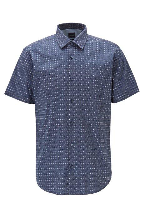 Regular-fit overhemd van stretchpopeline met microdessin, Donkerblauw