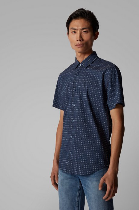 Regular-Fit Hemd aus Stretch-Popeline mit filigranem Motiv, Dunkelblau