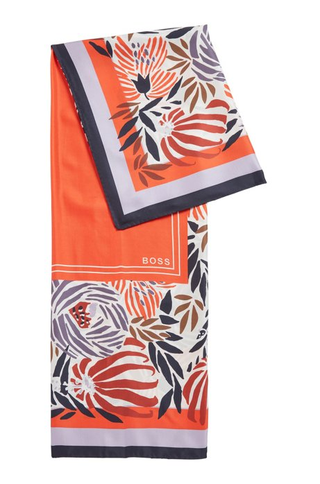 Square scarf in pure silk with signature print, Patterned