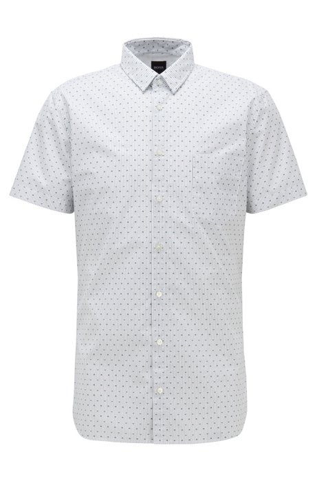Camicia slim fit a motivi in cotone elasticizzato, Grigio