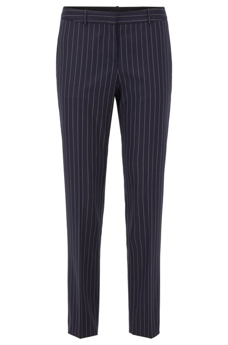 Regular-fit trousers in traceable stretch wool with pinstripe, Patterned