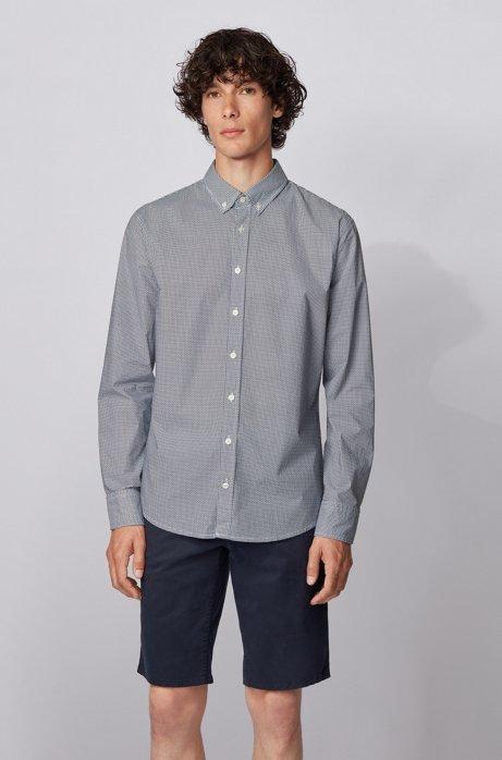 Camicia slim fit in cotone elasticizzato stampato, Blu scuro