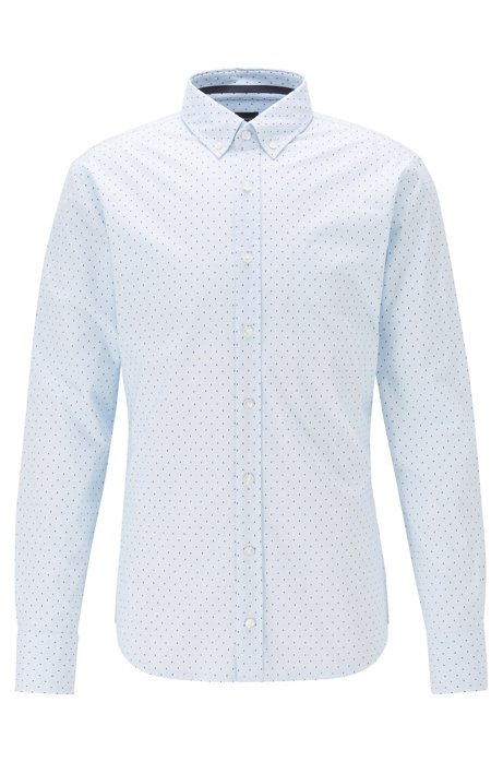 Slim-fit shirt in printed stretch cotton, Light Blue