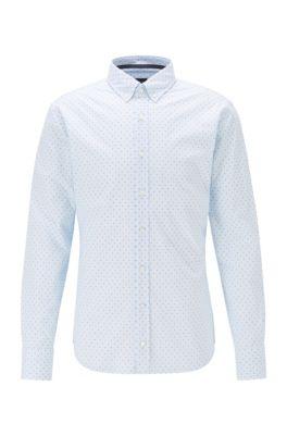 Slim-fit overhemd van stretchkatoen met print, Lichtblauw