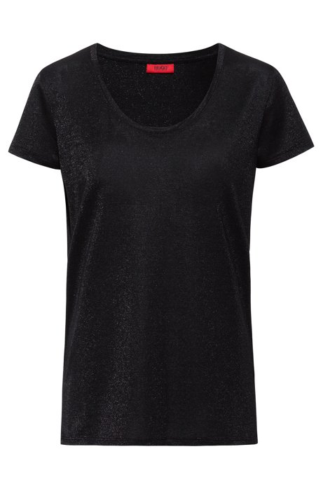 Sparkly T-shirt with scoop neckline, Black