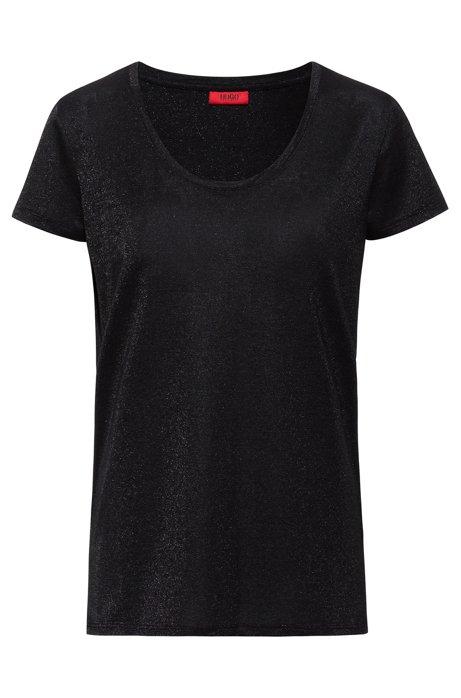 T-shirt brillant à encolure ronde, Noir