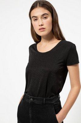 Sparkly T-shirt with scoop neckline, Black