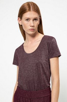 Sparkly T-shirt with scoop neckline, Purple