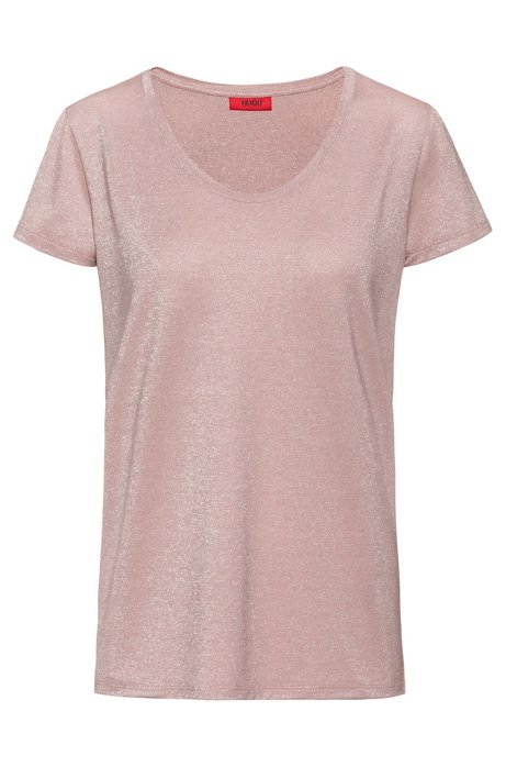 T-shirt brillant à encolure ronde, Rose