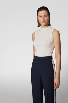 Slim-fit ribbed top in stretch yarn, White