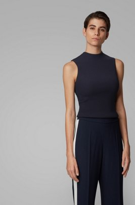 Slim-fit ribbed top in stretch yarn, Dark Blue