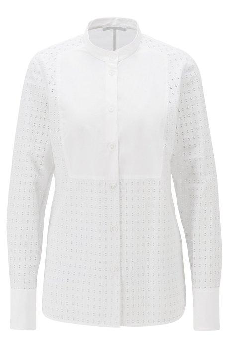 Regular-Fit Bluse aus Baumwolle mit Monogramm-Stickerei, Weiß