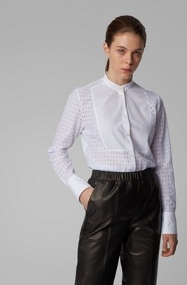 Regular-fit cotton blouse with monogram embroidery, White