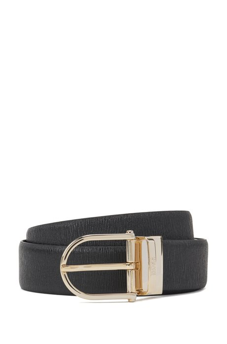 Reversible belt in smooth and structured leather with two buckles, Black