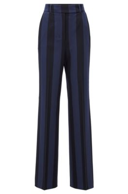 Pantaloni regular fit in tessuto elasticizzato a righe grosse, A disegni