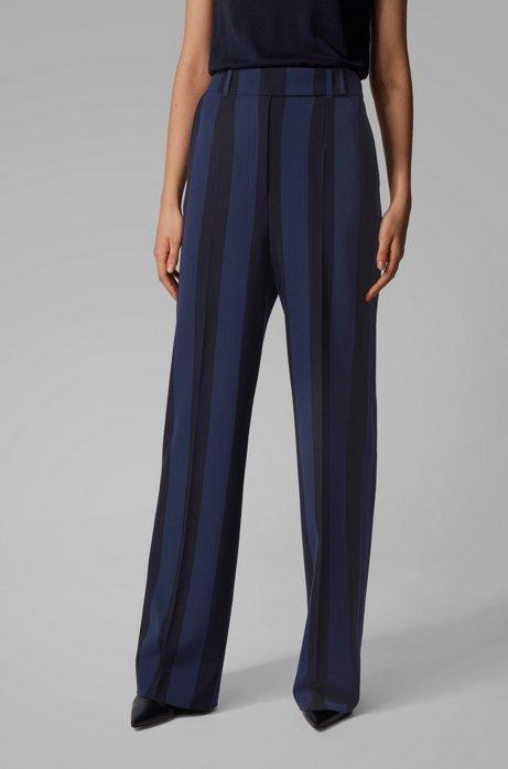 Pantalon Regular Fit en tissu stretch à larges rayures, Fantaisie