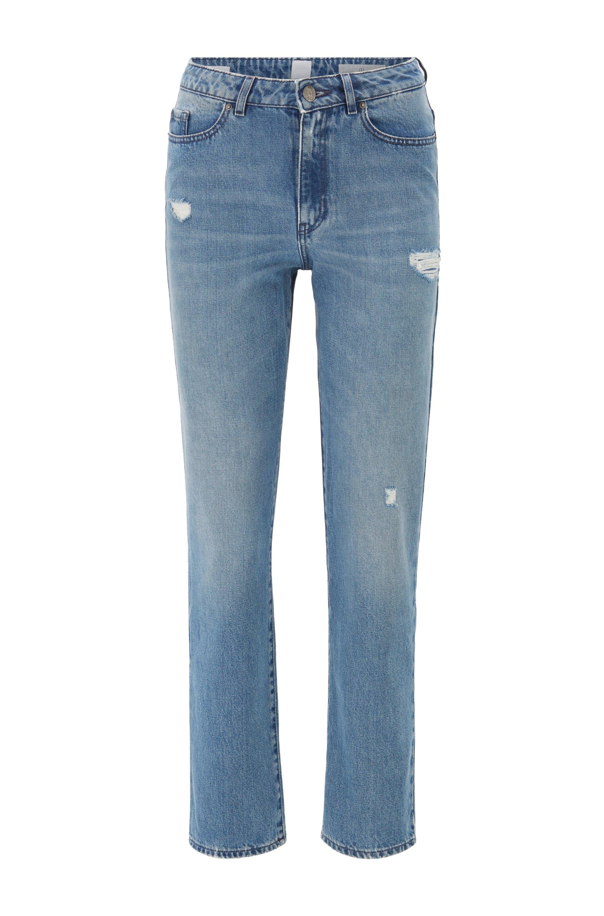 Jeans regular fit in denim elasticizzato blu effetto usurato, Blu