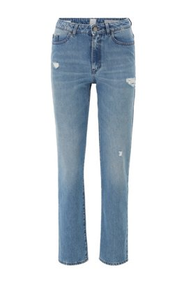 Regular-fit jeans van blauw distressed stretchdenim, Blauw
